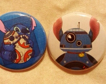 Stitch BB8 Pin Buttons Set 1""
