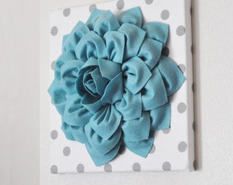 Dusty Blue Teal Dahlia Flower Wall Art - Home Decor - Dusty Blue Dahlias on White and Gray Polka Dot Canvases - Nursery Wall Art -