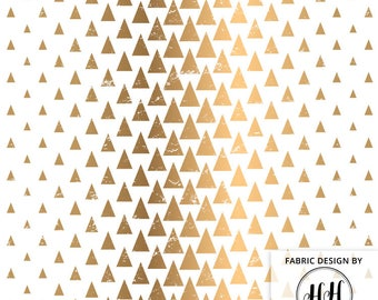 Geometric Gold Triangles Fabric by the Yard / Triangle Fabric / Modern Pattern / Quilting Gold and White Forest Print in Yards & Fat Quarter