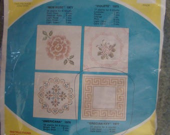 "6*vtg.-wonderart quilt blocks to embroidery*estate sale for quilt top*grecian key-18 by 18 ""-"