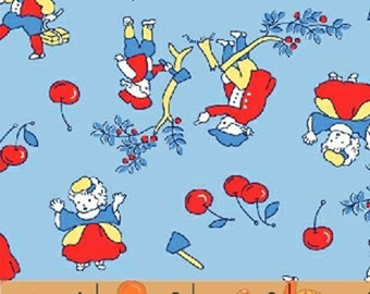 Storybook Americana - Washington's Cherries in Blue - Cotton USA Quilt Fabric - Whistler Studios for Windham Fabrics - 42345-3 (W4226)