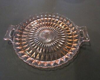 Vintage Windsor Diamond Pattern Pink Handled Sandwich Tray - Jeannette Glass Co.