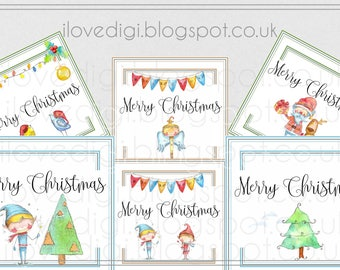 Printable download Christmas tags, digital collage sheet, images paper goods, greetings cards, I love digi