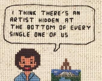 Bob Ross Cross Stitch Pattern