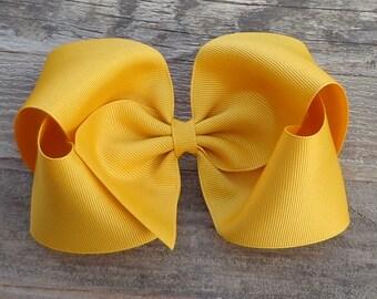 Boutique Hair Bow~Mustard Yellow Hair Bow~XL Boutique Bows~M2M Matilda Jane Hair Bows~Solid Color Hair Bow~Hair Bows for Girls~BIG Hairbows~