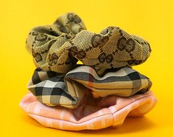 New! Designer Scrunchie Set ⋆ GUCCI FENDI BURBERRY ⋆ 100% Authentic Designer Fabric Handmade Womens Hair Tie Accessories High Fashion