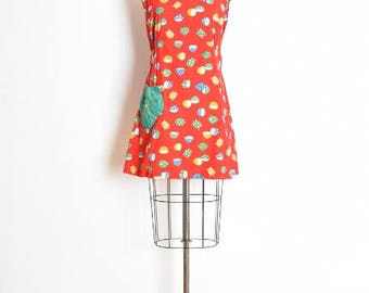 vintage 60s dress, lemon print dress, novelty print dress, 60s clothing, red dress, fruit print dress, apron dress, smock dress, M medium