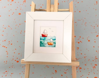Little Boats, framed miniature watercolour painting