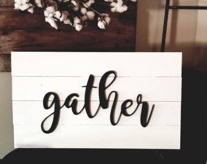 Shiplap Gather Sign 14x24 White Rustic Cottage Farmhouse Style Vintage Wood Decor Distressed Hanging Painted Wooden Board Wall Wood Sign