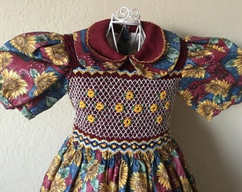 Size 5 Hand Smocked Girls' Dress - Sunflower Print with Collar Detail
