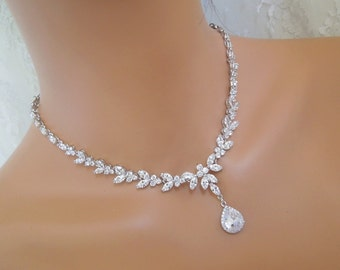 Bridal necklace Wedding crystal necklace Rhinestone necklace Statement Bridal Necklace Cubic ziconia necklace Wedding Necklace LORNA