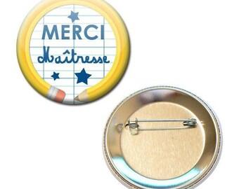 Badge 56 mm - thank you teacher notebook pencil school gift
