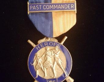Vintage, Medal, freemasons, ribbon medal, brass, bronze, uniform medal, illuminati, eastern star, gift for him, masons, vintage awards,