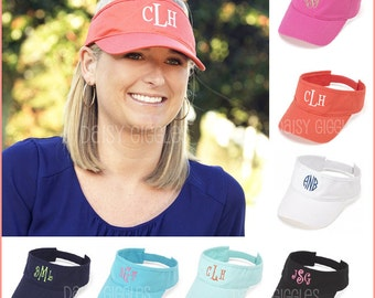 Twill Cotton Visor Sun Hat w/ Monogram - 10 Colors Available - Includes Free Embroidery