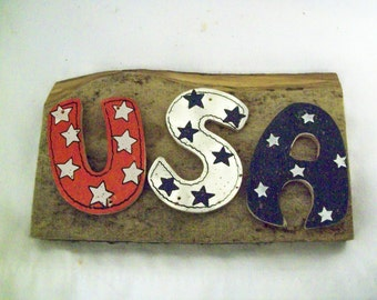 USA Sign, Americana, 4th of July Decor, Rustic USA Sign, Wood Patriotic Sign,  Rustic  Wood Sign, Rustic Sign, Rustic Home Decor,