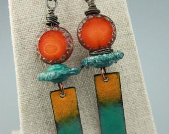 Rustic Boho Earrings, Boho Earrings, Hippie Earrings, Rustic Hippie Earrings, Tribal Earrings, Primitive Earrings,  #633-114