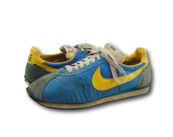 Vintage 70's NIKE Blue & Yellow Waffle Trainer Running Shoes Sneakers Sz 9.5 Made in JAPAN.