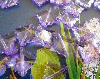 x 20 Acrylic beads 15 mm square purple.