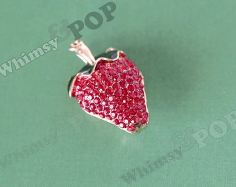 1 - 3D Large Foodie Fruit Strawberry Foodie Charm, Strawberry Charm, Fruit Charm, Fruit Pendant, Strawberry Pendant, 50mm x 30mm  (6-5G)