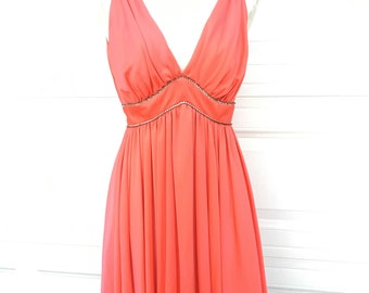 Vintage 1950s 1960s bright orange red NEW old stock plunging neckline open back cocktail Rhinestoned dress size S M