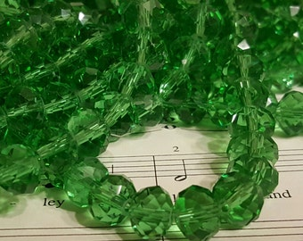 Glass Beads - 30 pcs. - Faceted Beads - 10mm x 7mm Beads - Green Glass Beads - Green Rondelle Beads