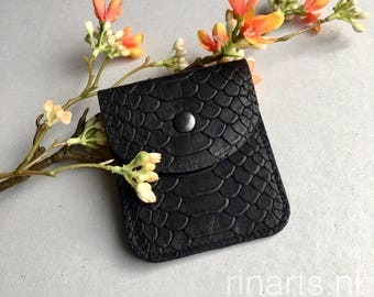 Leather wallet / Card holder / slim wallet in black snake print cow leather and blue turquoise suede lining. gift for women