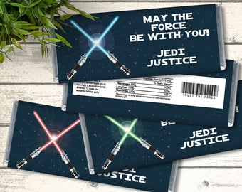 Star Wars Candy Bar Wrappers - 3 color versions, Star Wars Birthday, Star Wars Favor    Editable Text - DIY Instant Download PDF Printable