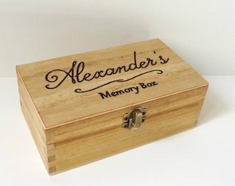 Personalised engraved wooden box - Memory Box - Keepsake box - Engraved Name box - Jewellery box - Wedding Gift - Anniversary - Baby Shower
