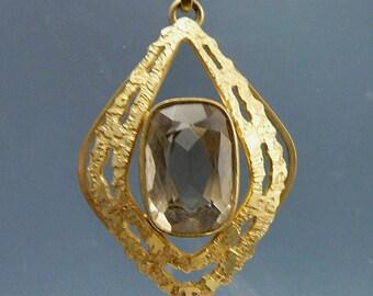 Modernist Andreas Daub 8K Brutalist Gold Smoky Quartz Pendant Necklace