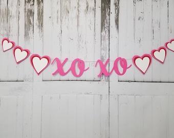 XO XO Valentine's Day Heart Banner, Valentine's Day Decoration, Xo Xo Heart Banner, Xo Xo Heart Garland