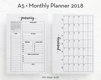 2018 Monthly Planner, A5 Planner Inserts, Month at a Glance, 2018 Calendar, Monthly Calendar, Printable Planner, Printable Inserts