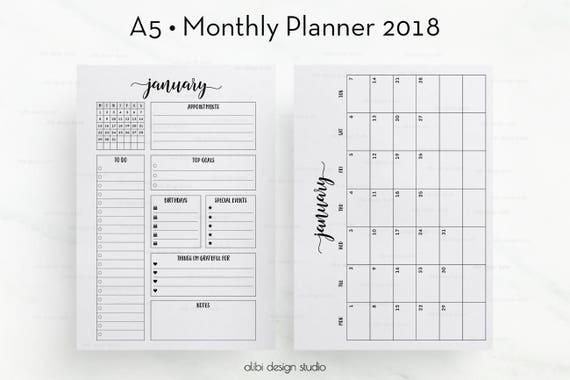 2018 monthly planner a5 planner inserts month at a glance for Month at a glance blank calendar template