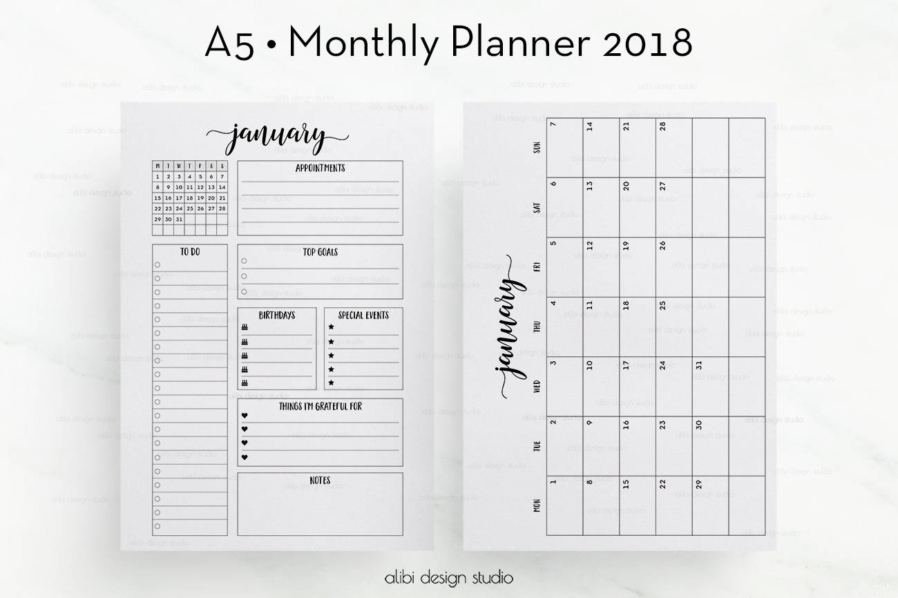 Business card printable business card moo template square 2018 monthly planner a5 planner inserts month at a glance 2018 calendar alramifo Gallery