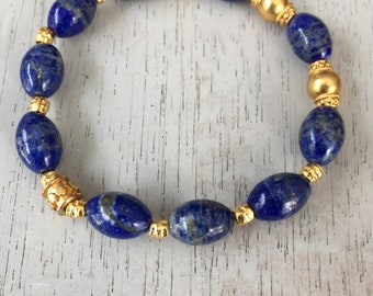 Lapis bracelet with 24kt gold vermeil Bali beads