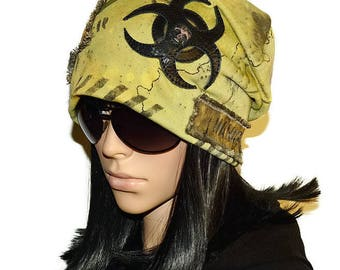 Hat with skull , Slouchy beanie , Men beanie , Warning Apocalypse , Gas mask , Biohazard , Apocalypse clothing Radioactive Biohazard symbol
