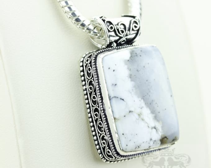 Dendritic Agate Vintage Filigree Setting 925 S0LID Sterling Silver Pendant + 4mm Snake Chain p2926