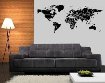 Allstickers etsy large detailed countries border world map wall decal 84 in weidth x 3525 in height gumiabroncs Choice Image