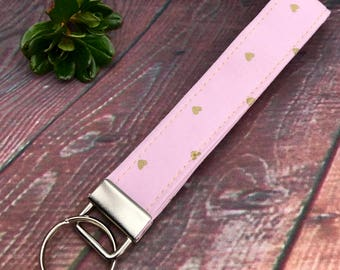 Pink and Gold key fob, Hearts wristlet, key chain, fabric key fob
