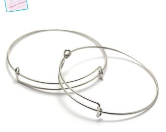 """4 brackets """"Bangle"""" bracelet, silver"""