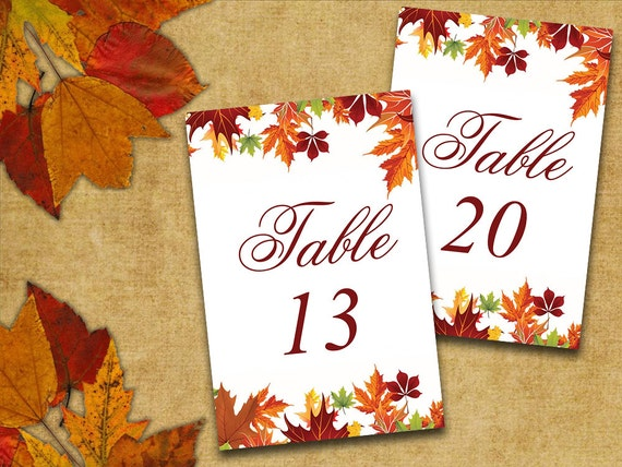 Table number cards word template 4x6 autumn leaves red m4hsunfo