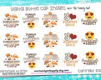 "Peace, Love, Pumpkin Pie - Fall/Thanksgiving Inspired Digital Bottle Cap Images - INSTANT DOWNLOAD - 1"" Bottle Cap Images 4x6 - 162"