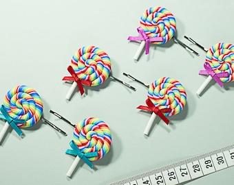 Rainbow Lollipop Hair Pin