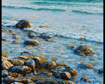 "Landscape Art Print - ""West Shore Waves"", Limited Edition Givlee Print on Fine Art Paper, 12"" x 9"""