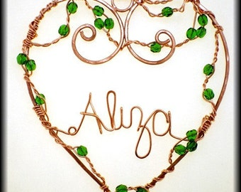 Copper Personalized Custom Name Ornament, Heart