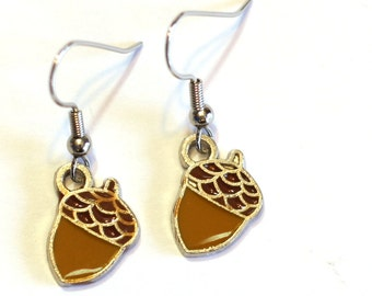 Acorn Enamel Charm Earrings - Thanksgiving, Fall Holiday Jewelry Accessories