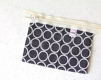 Gray Man bag, Cosmetic bag, zipper pouch, change purse, mini business card id holder, coin purse, small, cash envelope, pocket wallet, kid