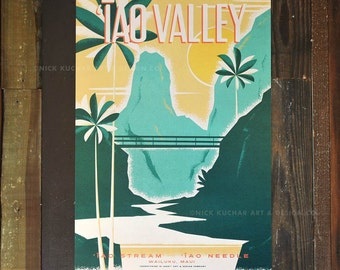 Iao Valley - 12x18 Retro Hawaii Travel Print