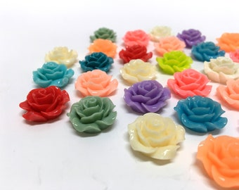 NEW - 20mm Resin Flower - Rose - assorted colors - great colors and price- USA seller