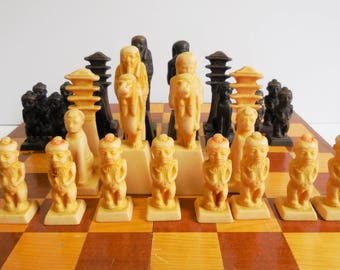 Vintage Chess set Egyptian game pieces wood fold out box