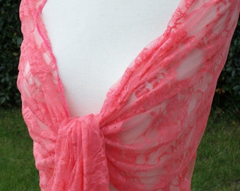 Coral woman's Lacy shawl nice wedding linen ' eva